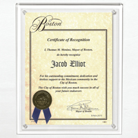 "Certificate Holder - Clear on Clear - 8 1/2"" x 11"" Insert"